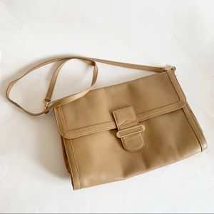 Vintage Tan Leather Crossbody Bag Made In Italy